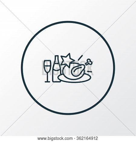 Christmas Diner Icon Line Symbol. Premium Quality Isolated Lunch Element In Trendy Style.