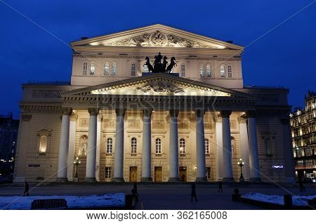 Moscow, Russian Federation - February 18, 2015. The Bolshoi Theater At Night. The Bolshoi Theater In