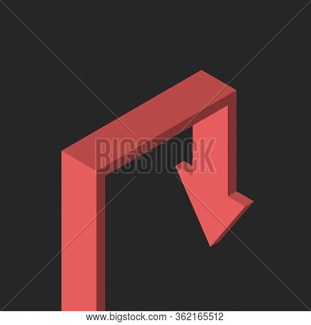 Isometric Red Arrow Growing And Falling On Gloomy Black Background. Crisis, Depression, Despair, Pro