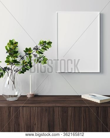 Mockup Poster Frame In Modern Interior Background, Scandinavian Style, 3D Render, 3D Illustration