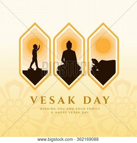 Vesak Day Banner With Three Events On Vesak Day Are Nativity , Enlightenment And Nirvana In Frame Ve