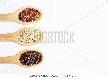 Seeds Of White, Red And Black Quinoa - Chenopodium Quinoa. White Background