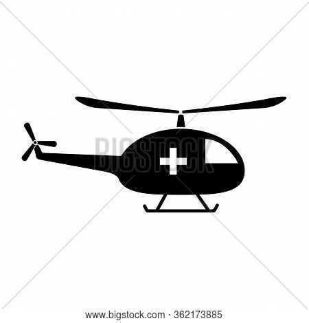 Medical Helicopter Icon. Vector Illustration Of A Helicopter On The Body Depicts A Medical Cross.