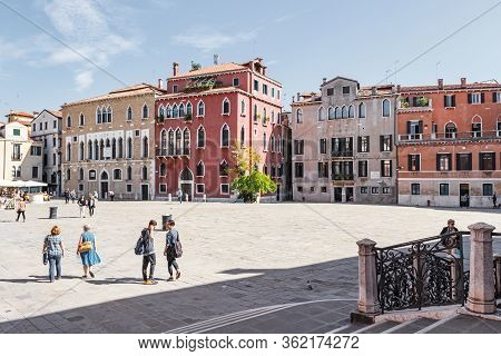 Venice, Italy - September 28, 2015 : Old Town Of Venice. Campo Sant Anzolo Square In Venice, Italy