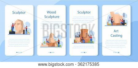 Professional Sculptor Mobile Application Banner Set. Creating Sculpture