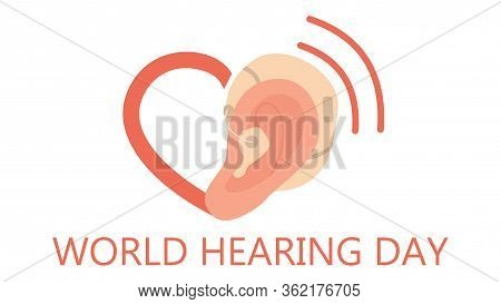 Deaf And World Hearing Day Concept. Ear Hearing Aid Icon. Hearing