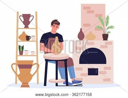 Man Potter In Apron Making Ceramic Bowl And Pot. Craftsman