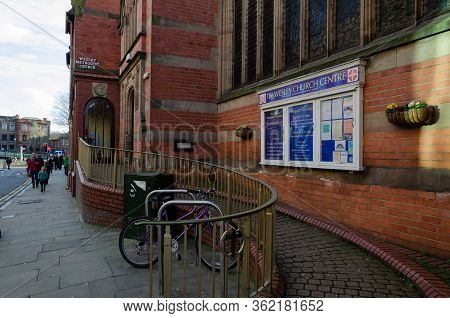 Chester, Uk: Mar 1, 2020: The Wesley Church Centre Is A Red Brick Methodist Church Which Also Houses