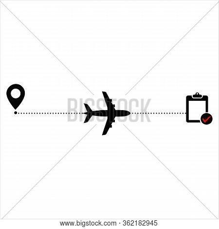 Airplane Line Path Vector Icon	, Dash, Itinerary, Dashed