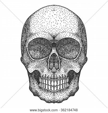 Skull Head Dotwork Vector Illustration For Your Company Or Brand