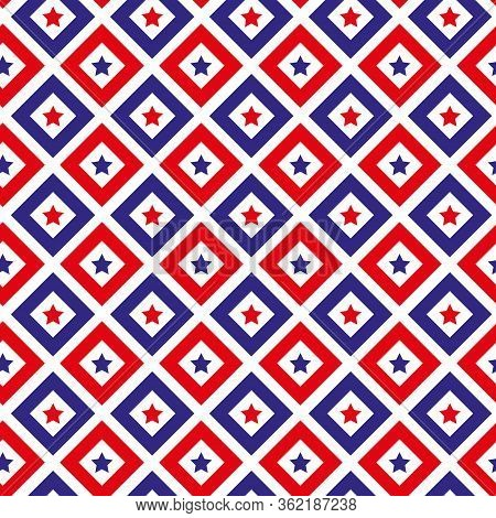Independence Day Of America Seamless Pattern. July 4th Endless Background. Usa National Holiday Repe