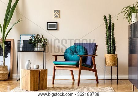 Interior Design Of Retro Modern Living Room With Stylish Blue Navy Commode, Cacti, Design Armchair,