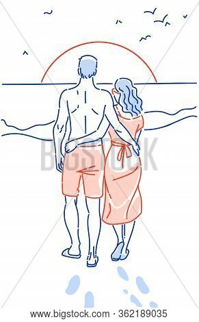 Couple Holding Hands On The Beach Going On The Ocean Hand Drawn Vector Illustration. Lovers Watch Th
