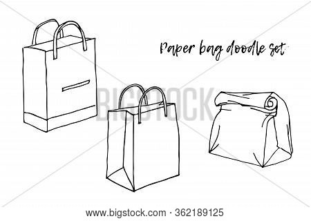 Set Of Shopping Bags Isolated. Line Sketch Style. Black And White Hand Drawn Illustration On White B