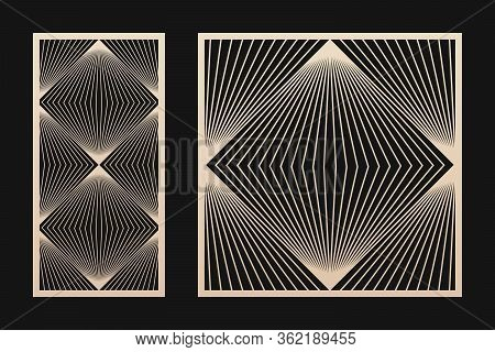 Laser Cut Panel. Vector Template With Abstract Geometric Pattern, Lines, Grid, Stripes, Optical Art.