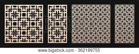 Laser Cut Panel Set. Vector Template With Abstract Geometric Pattern In Arabian Style, Floral Grid,