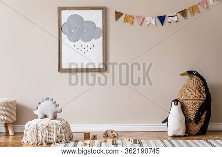 Stylish Scandinavian Kid Room With Mock Up Poster, Toys, Teddy Bear, Plush Animal, Natural Pouf And