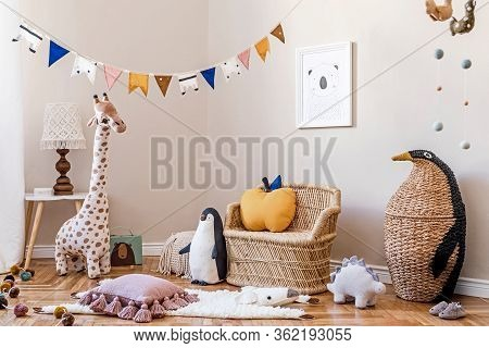 Stylish Scandinavian Interior Of Child Room With Mock Up Frame ,natural Toys, Hanging Decoration, De