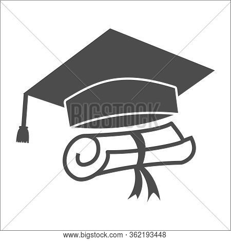 Vector Icon Of The Graduation Cap And Diploma. A Simple Stock Design, Blank, Outline, Isolated On Wh