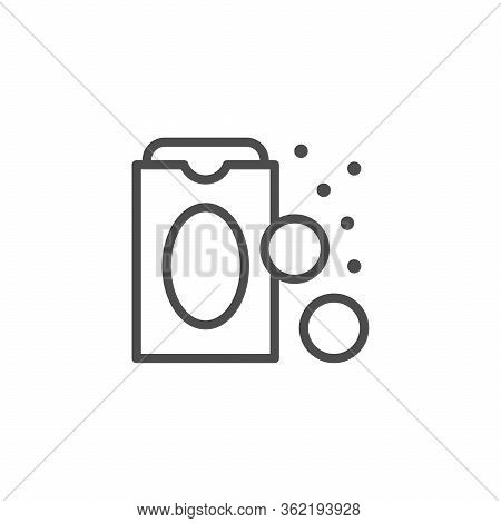 Sweetener Line Outline Icon And Sugar Concept Isolated On White. Diabetic Package Sugar Free. Vector