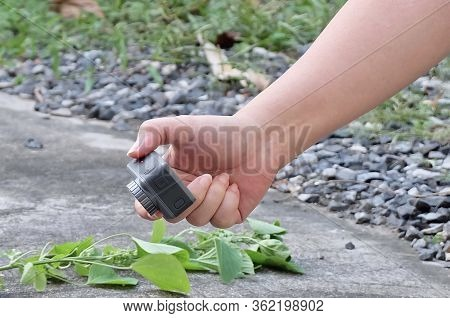 Hand Holding An Action Camera To Take A Photograph Or Footage.