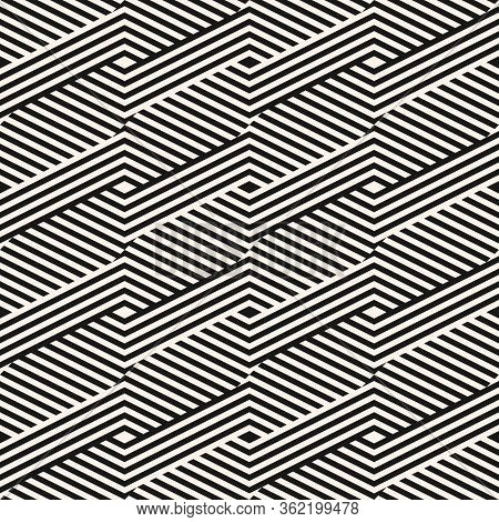 Geometric Lines Seamless Pattern. Modern Monochrome Vector Texture With Diagonal Stripes, Broken Lin