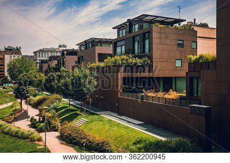 Modern Residential Buildings In The Public Green Area. Apartment Houses In Europe. Beautiful View Of