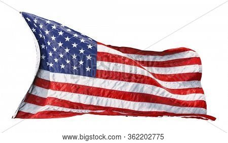 American flag waving in the wind isolated on white background. 3D rendering