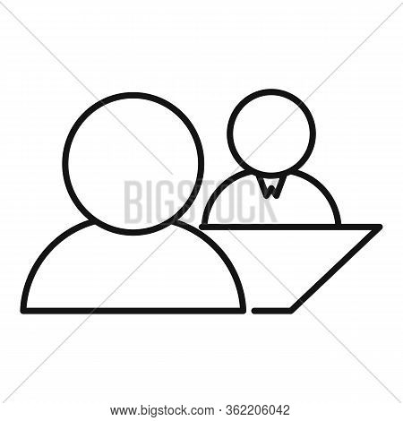 Job Interview Icon. Outline Job Interview Vector Icon For Web Design Isolated On White Background