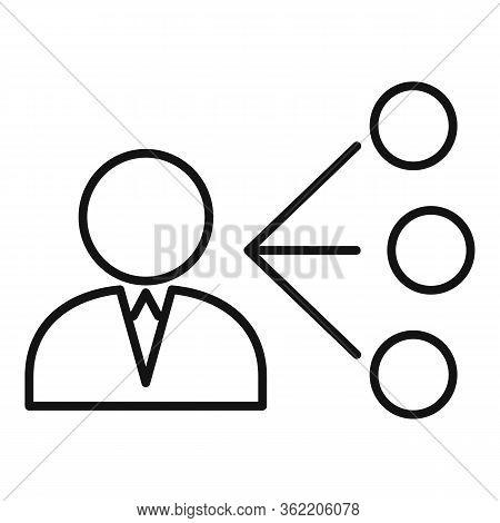Unemployed Man Choose Job Icon. Outline Unemployed Man Choose Job Vector Icon For Web Design Isolate