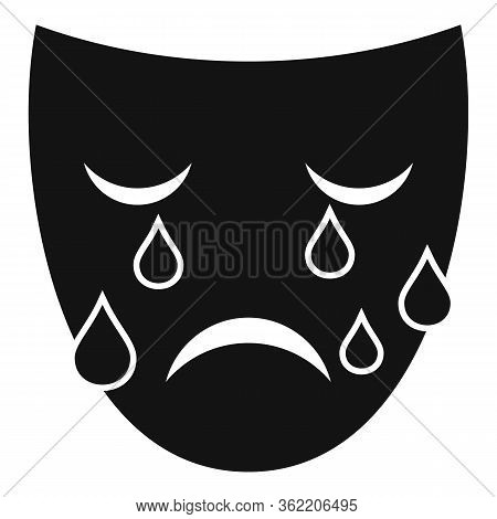Crying Man Face Icon. Simple Illustration Of Crying Man Face Vector Icon For Web Design Isolated On