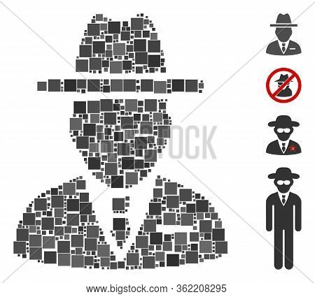 Collage Spy Person Icon United From Square Elements In Random Sizes And Color Hues. Vector Square El