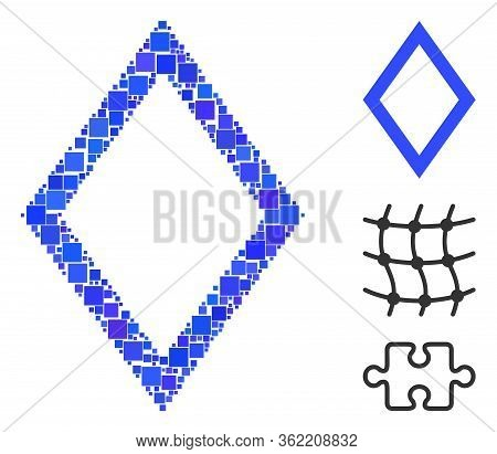 Mosaic Contour Rhombus Icon Designed From Square Items In Variable Sizes And Color Hues. Vector Squa