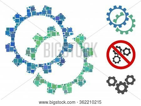 Collage Configuration Gears Icon United From Square Elements In Random Sizes And Color Hues. Vector