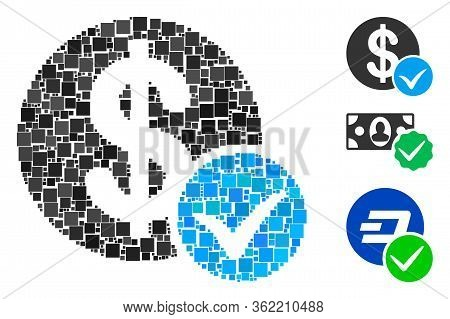 Collage Accept Payment Icon Organized From Square Items In Various Sizes And Color Hues. Vector Squa