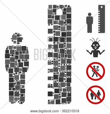 Mosaic Man Height Icon Organized From Square Items In Various Sizes And Color Hues. Vector Square Pa