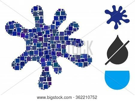 Mosaic Blot Icon Composed Of Square Elements In Different Sizes And Color Hues. Vector Square Elemen