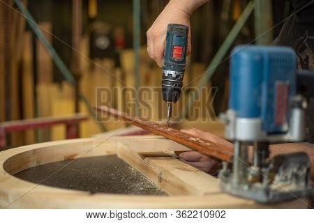 Joinery Concept, Woodworking And Furniture Making, Carpenter Work With Wood In Carpentry Shop, Indus