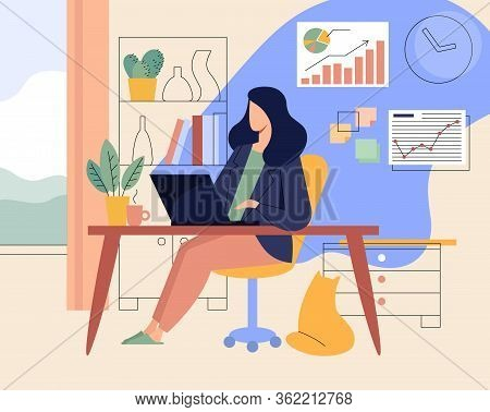 Flat Vector Concept Illustration. A Female Freelancer Working At Home With Cat.