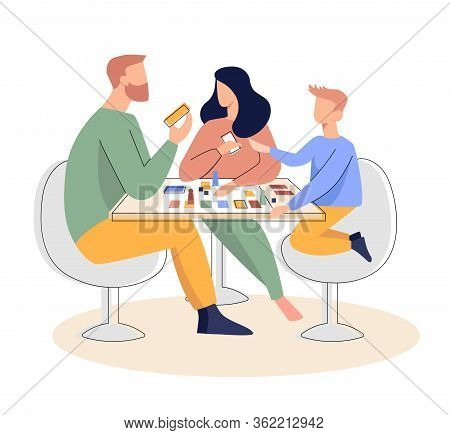 Family Playing A Board Game Flat Vector Illustration