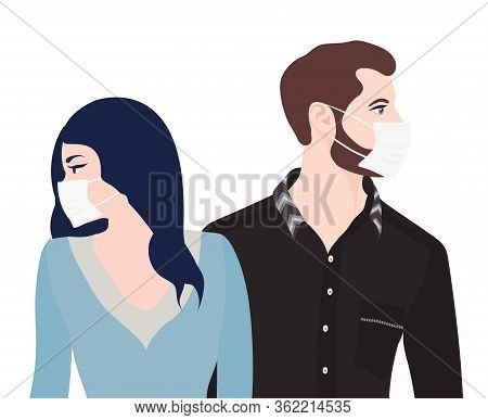 Caucasian Man Woman Couple With Medical Mask. Separation Or Divorce Between Couples With Problems Of