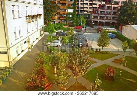 Bratislava, Slovakia- August 31, 2019: Yard Of Monastery Of The Sisters Of The Most Holy Savior And