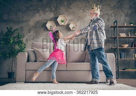 Profile Photo Of Funny Aged Old Grandpa Little Pretty Granddaughter Acting Fairy Stage Costumes Good