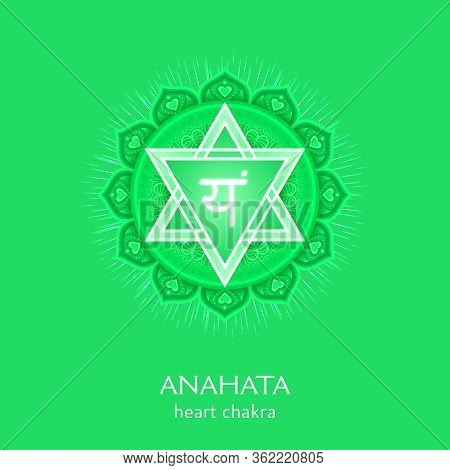 Anahata, Heart Chakra Symbol. Colorful Mandala. Vector Illustration