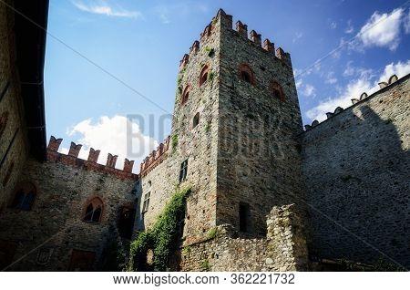 Montaldo Dora, Italy - July 23, 2017: Castle Of Montaldo Dora, In Canavese (piedmont, Italy) Near Iv