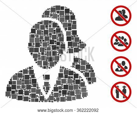 Collage People Icon United From Square Items In Variable Sizes And Color Hues. Vector Square Items A