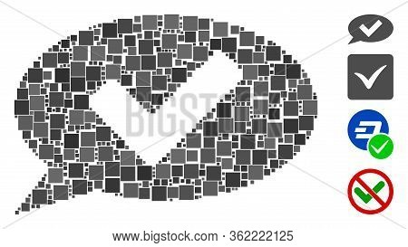 Mosaic Ok Message Icon Constructed From Square Items In Random Sizes And Color Hues. Vector Square I