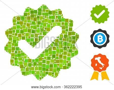 Collage Best Medallion Icon Composed Of Square Items In Different Sizes And Color Hues. Vector Squar