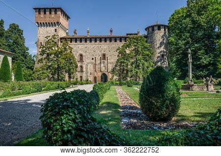 Piacenza, Italy - August 14, 2016 - Medieval Castle Of Grazzano Visconti, Near Piacenza, Italy, With