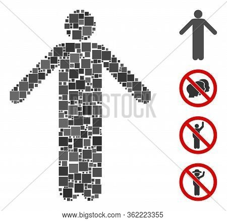 Collage Ignorance Pose Icon Designed From Square Items In Random Sizes And Color Hues. Vector Square